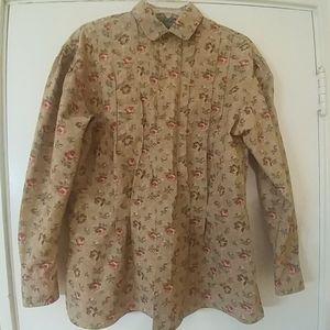 RALPH LAUREN COUNTRY Vintage Tan Floral Blouse 10